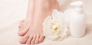 Reflexology. AOR pic of feet and cream